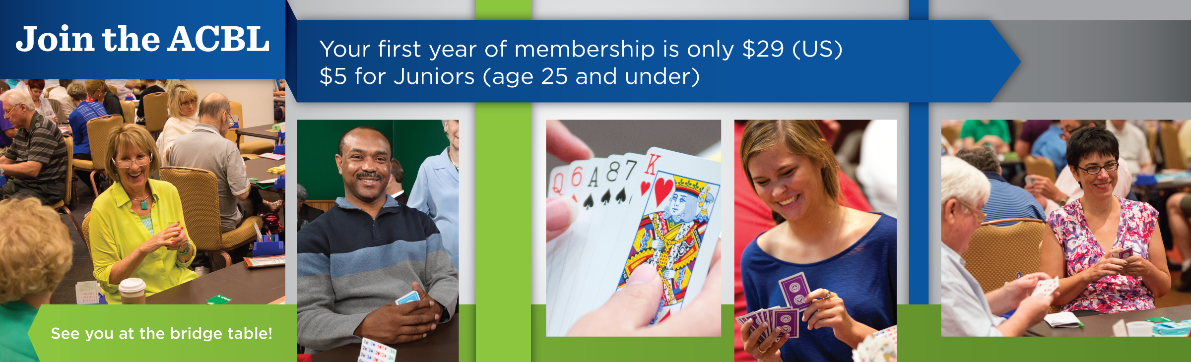 Join the ACBL! Your first year membership is only $29 (US).